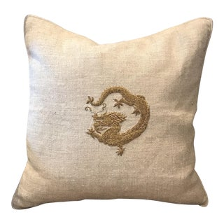 Williams-Sonoma Dragon Zardozi Embroidered Linen Pillow
