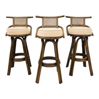 Set Vintage Rattan & Cane Swivel Bar Stools