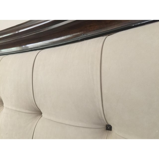 Modern Tufted King Bed in Beige Suede - Image 6 of 10
