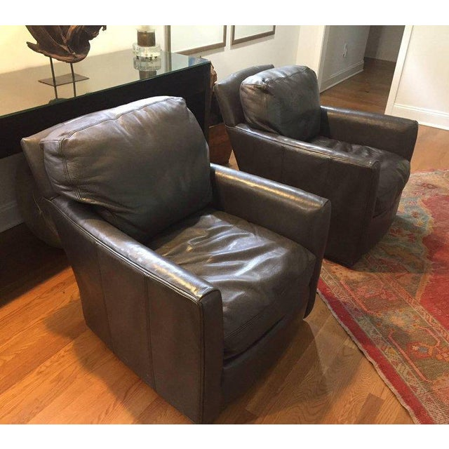 Lee Industries Traditional Lee Industries Supple Leather Swivel Club Chairs - a Pair For Sale - Image 4 of 13