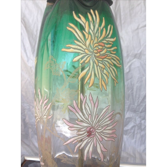 Floral Enamel Glass Table Lamp - Image 3 of 8