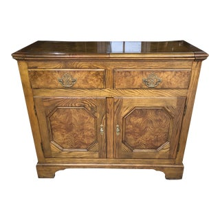 Baker Furniture Chippendale Style Burlwood Flip Top Server For Sale