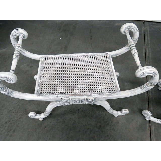 Asian Distressed Painted Curule Benches - a Pair For Sale - Image 3 of 8