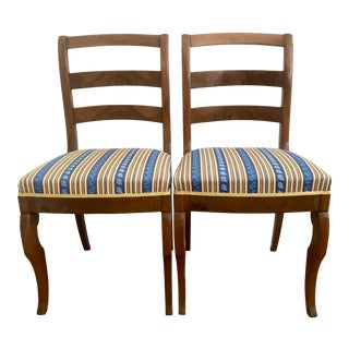 Antique Late 18th Century Wild Cherry French Side Chairs With Upholstered Seats - A Pair For Sale
