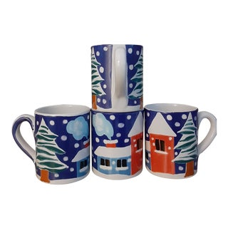 Never Used Large Hand Painted Italian Provincial Scene Mugs - Set of 4 For Sale