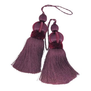 Mulberry Key Tassel W Cut Velvet Ruche - a Pair For Sale