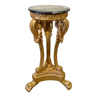 Italian Gold Gild Baroque Style Marble Top Pedestal For Sale