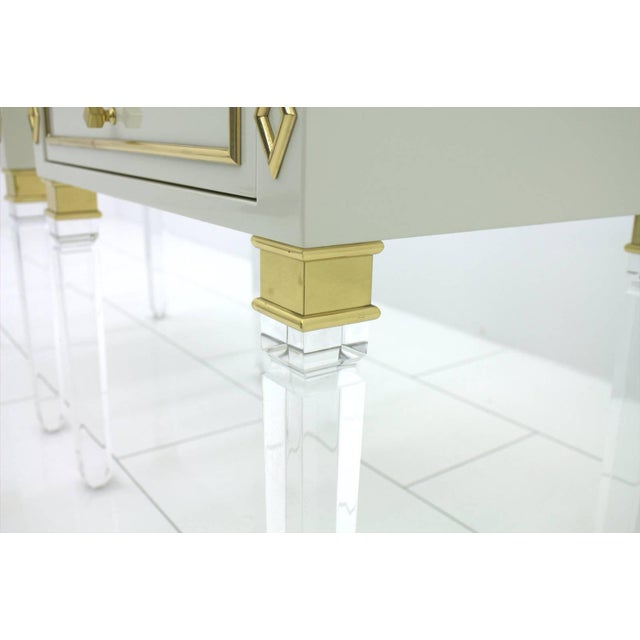 Pair of Nightstands, Lucite, Wood and Brass, 1970s For Sale - Image 4 of 9