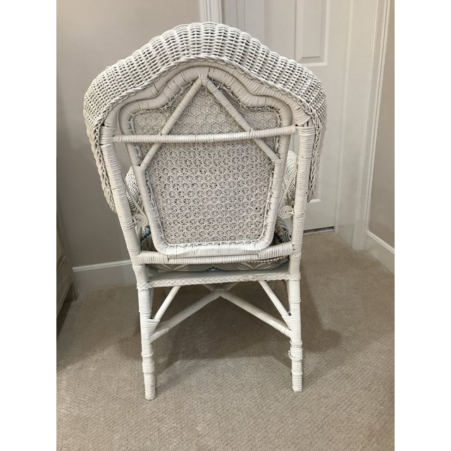 White Antique Scrolled Back Wicker & Cain Armchair - Image 5 of 7
