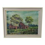 Image of Vintage Framed Limited Edition Red Barn Landscape Lithograph - Artist Signed For Sale