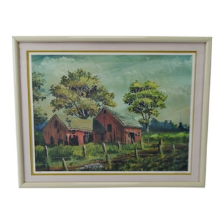 Vintage Framed Limited Edition Red Barn Landscape Lithograph - Artist Signed For Sale
