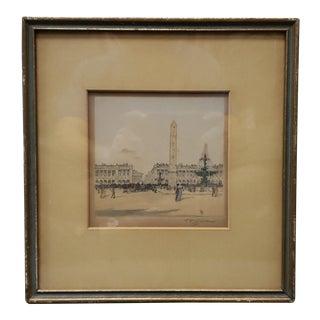 """Tavik F. Simon - """"Place De La Concorde, Paris"""" Hand Colored Etching (Czech) (Circa 1905) For Sale"""