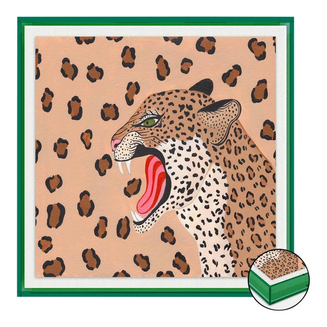 Vanessa the Leopard by Willa Heart in Dark Green Transparent Acrylic Shadow Box, Small Art Print For Sale
