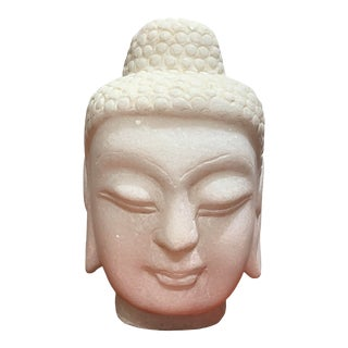 White Marble Buddha Head For Sale