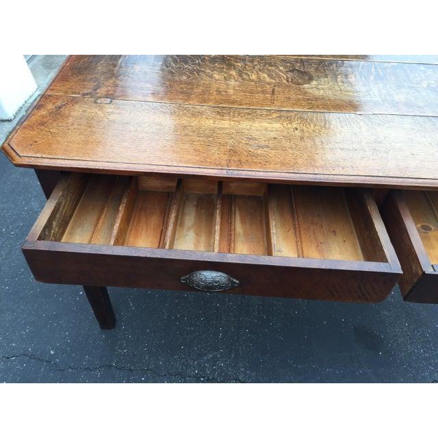 Maple Antique French Farm Table With Drawers For Sale - Image 7 of 13