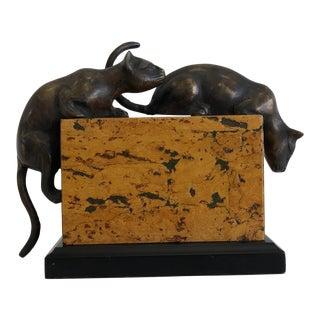 1940s Art Deco Bronze Cats on Burl Sculpture For Sale