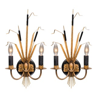 Vintage French Sheaf of Wheat Sconces by Maison Baguès For Sale