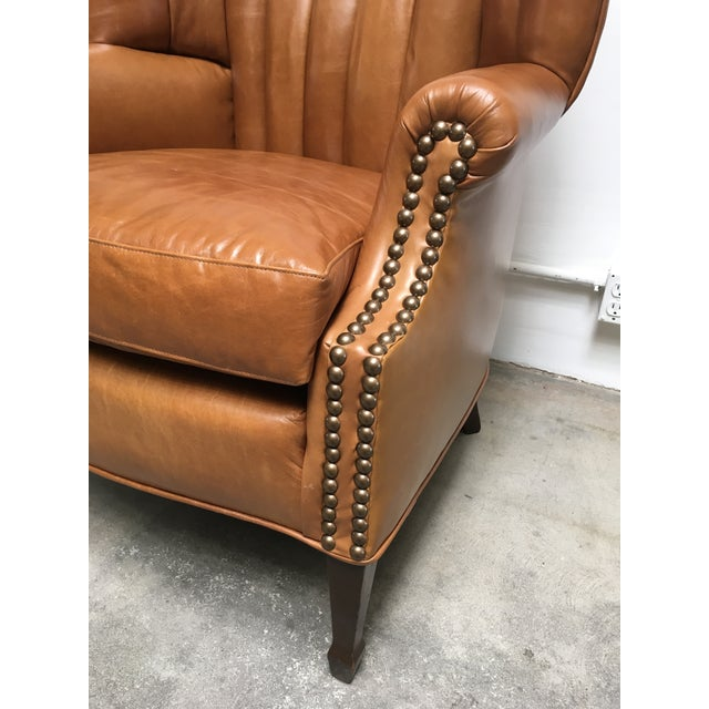 1940s Unique Channel Back Bucket Wing Chair For Sale - Image 10 of 13