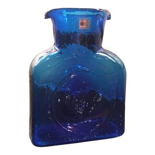 Blenko Mid Century Cobalt Blue Art Glass Pitcher For Sale