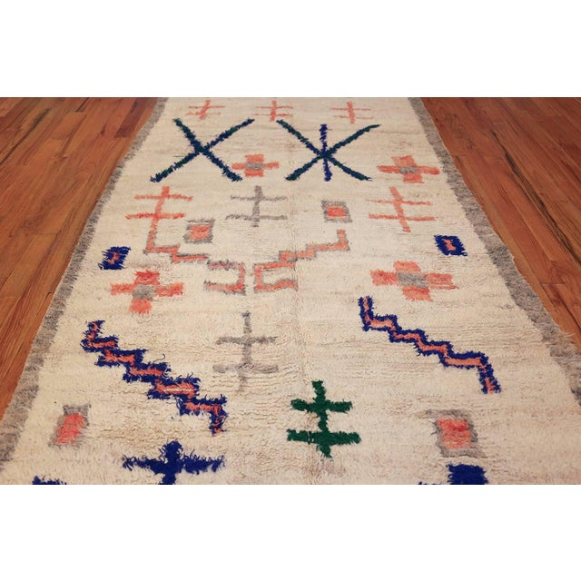White Vintage Moroccan Rug For Sale - Image 8 of 11