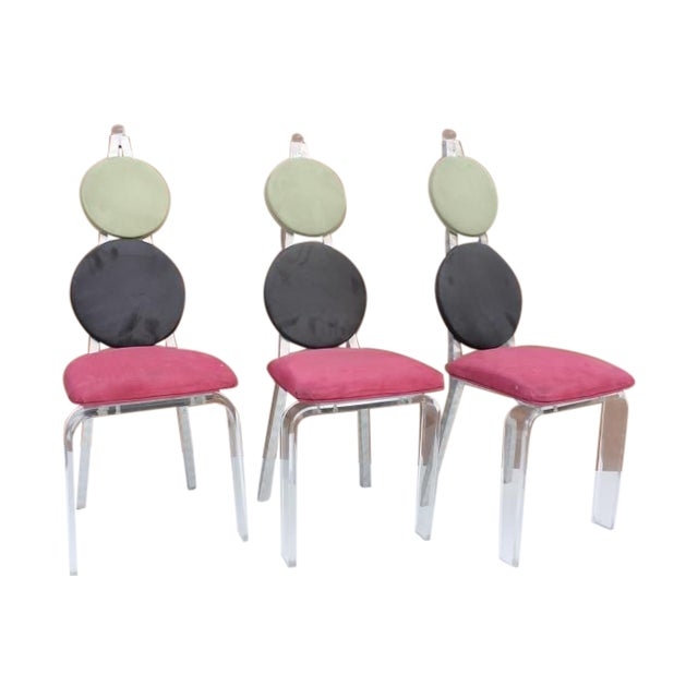 Vintage Lucite & Aluminum Dining - Chairs Set of 3 For Sale