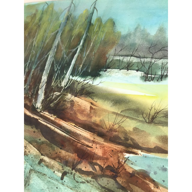 Cottage Original Unframed Forest Watercolor Painting For Sale - Image 3 of 5