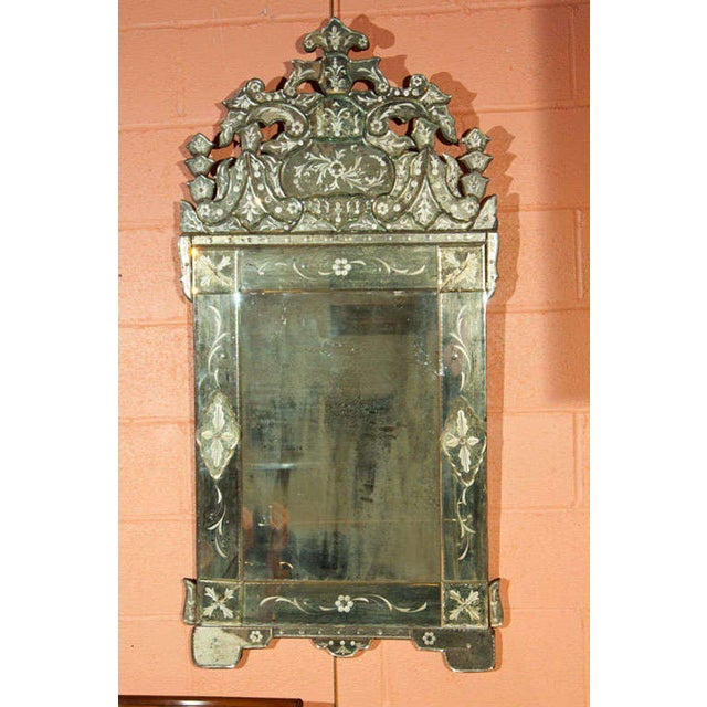 Hollywood Regency Pair of German Clear Center Venetian Style Mirrors For Sale - Image 3 of 11