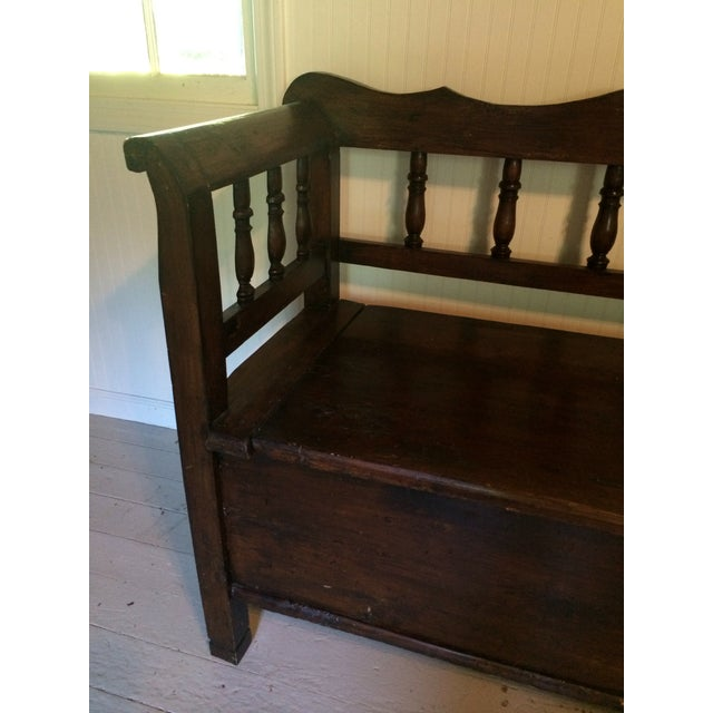 Antique European Hall Bench With Storage - Image 6 of 8