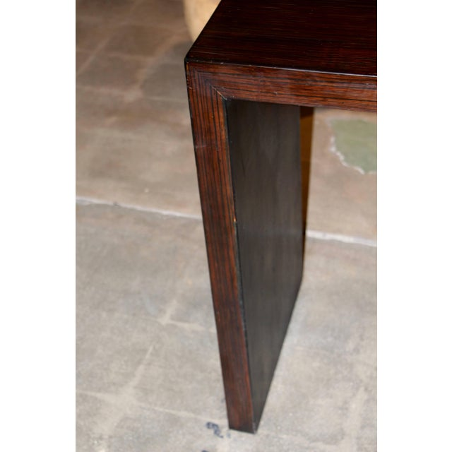 Bamboo Veneered Grained Brown Console For Sale - Image 4 of 10