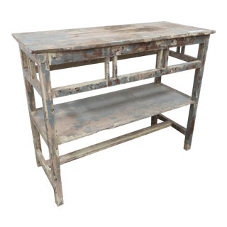 Antique French Wooden Side Table With Shelf For Sale