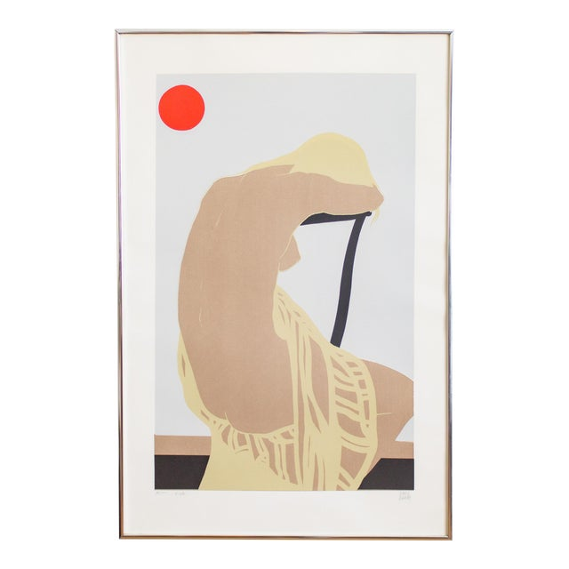 Nude Color Block Linocut Print by Georg Rauch Titled Nicole 1960s - 1970s For Sale