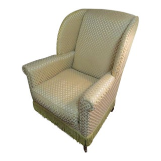 Vintage Down-Filled Wingback Chair For Sale