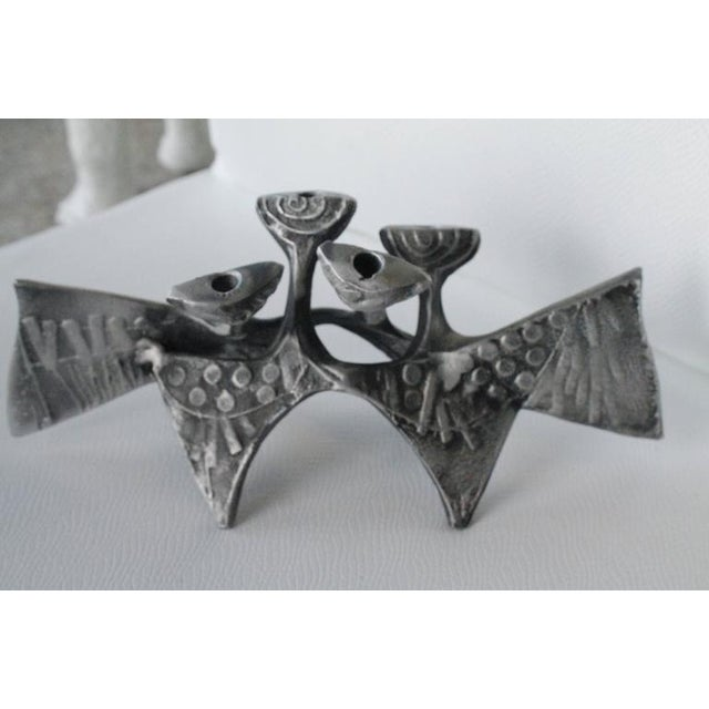 Donald Drumm Brutalist Cast Aluminum Candle Holder For Sale - Image 9 of 12