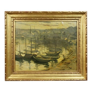 Oil on Canvas Painting of a Harbor Scene by Lillian Genthe For Sale