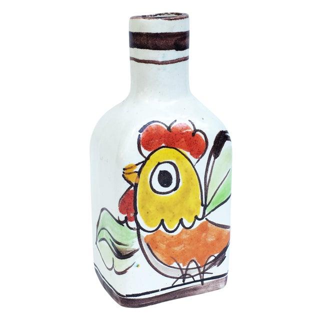 1960s Italian Pottery Vase Bottle Signed DeSimone For Sale