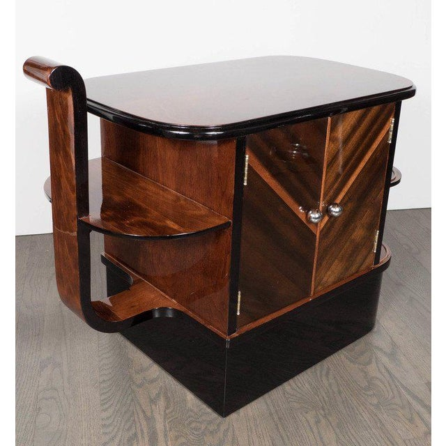 1930s Streamlined Art Deco End Table or Dry Bar Cabinet in Book-Matched Exotic Walnut For Sale - Image 5 of 10