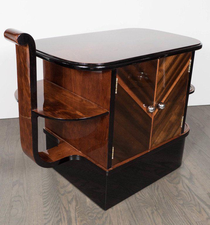 Streamlined Art Deco End Table Or Dry Bar Cabinet In Book Matched Exotic  Walnut