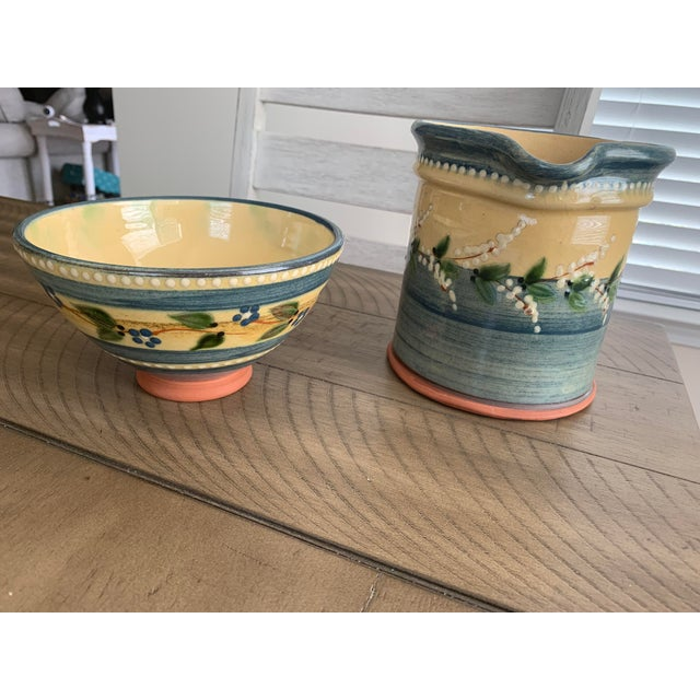 Vintage French country hand-painted and glazed terra cotta pottery pitcher or jug and matching bowl set with makers stamp....