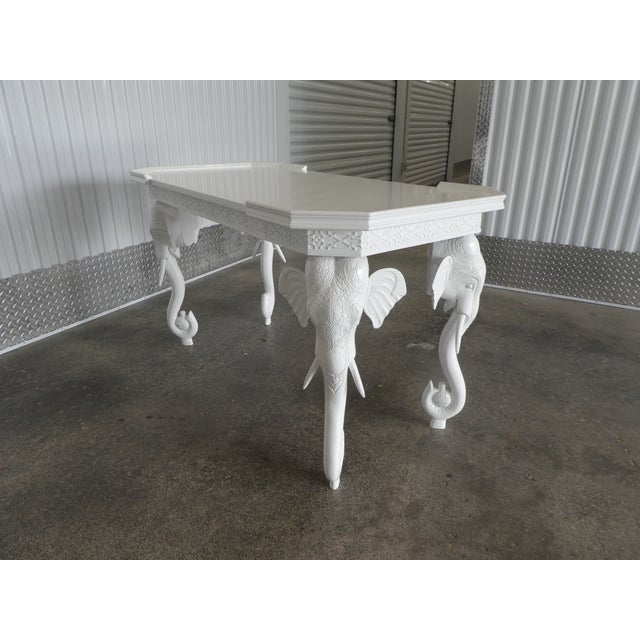 Wood 1970s Hollywood Regency Gampel Stoll White Lacquer Elephant Writing Desk For Sale - Image 7 of 13