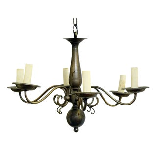 Colonial Style 6 Arm Pewter Chandelier
