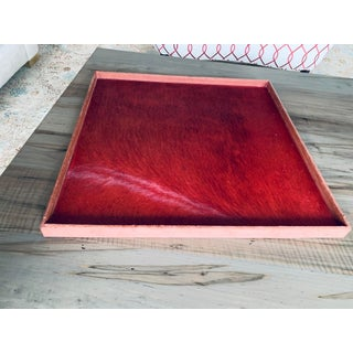 Gilles Caffier Large Horse Hair Square Red Tray Preview