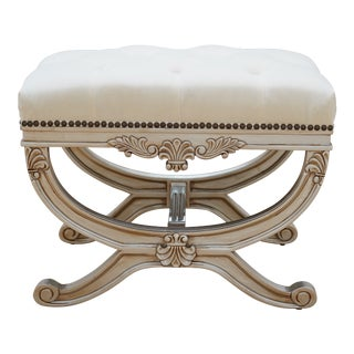 Eliza Tufted Stool by Frontgate For Sale