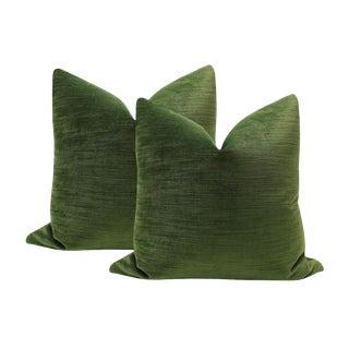 """16"""" Strie Velvet Olive Green Pillows - a Pair For Sale"""