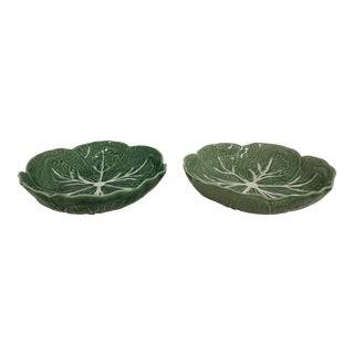 Antique Vintage Bordallo Pinhero Cabbage Bowls - a Pair For Sale