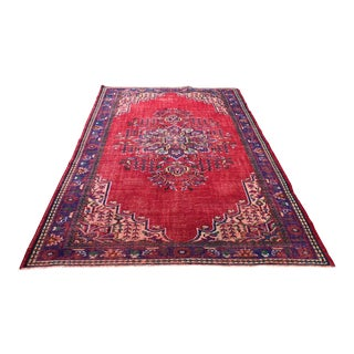 1960s Vintage Turkish Hand-Knotted Area Rug - 6′4″ × 9′11″ For Sale
