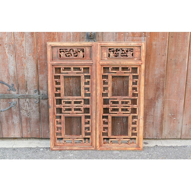 Vintage Asian Lattice Carved Window Panels, Set of Two For Sale - Image 9 of 9