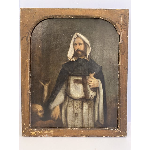 Mid 19th Century Antique 19th C. Portrait of Saint Dominic Oil on Canvas Painting For Sale - Image 5 of 11