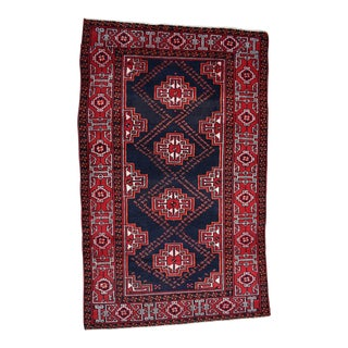 """1950's Vintage Handwoven Persian Wool Area Rug - 3'10"""" X 6'3"""" For Sale"""