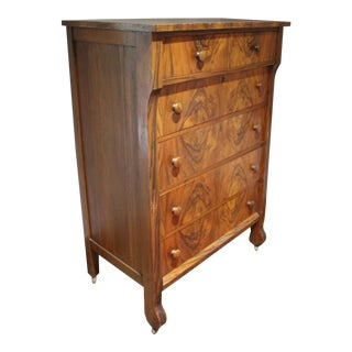 Art Deco Burl Wood Highboy Chest of Drawers For Sale