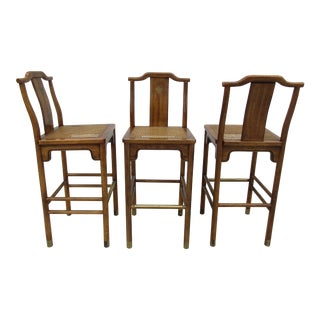 Drexel Chinoiserie Style Bar Stools - Set of 3 For Sale
